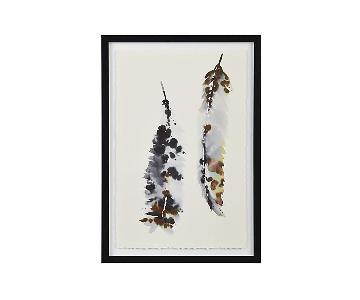 Crate & Barrel Framed Watercolor Feathers