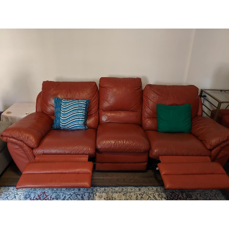 Red Leather Reclining Sofa - AptDeco
