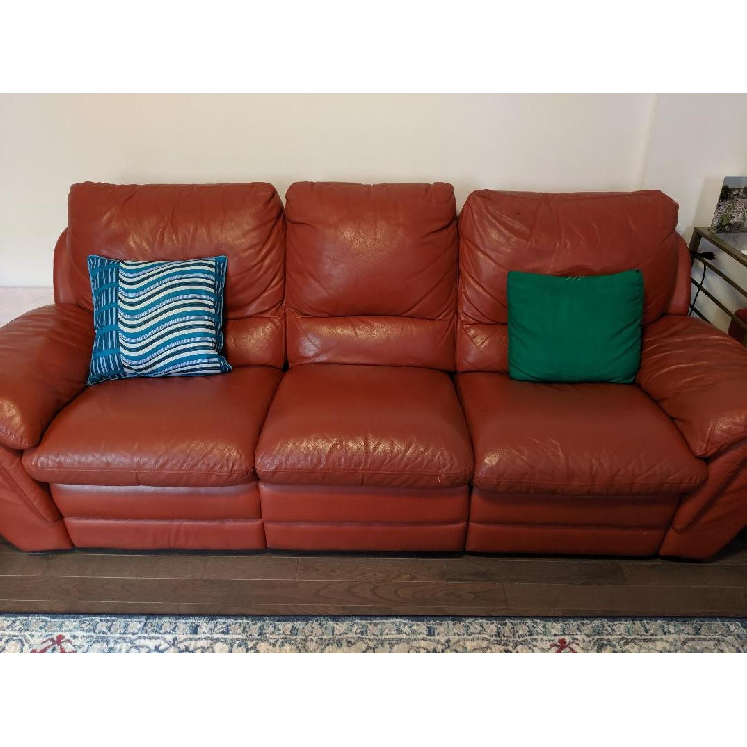Red Leather Reclining Sofa - image-3