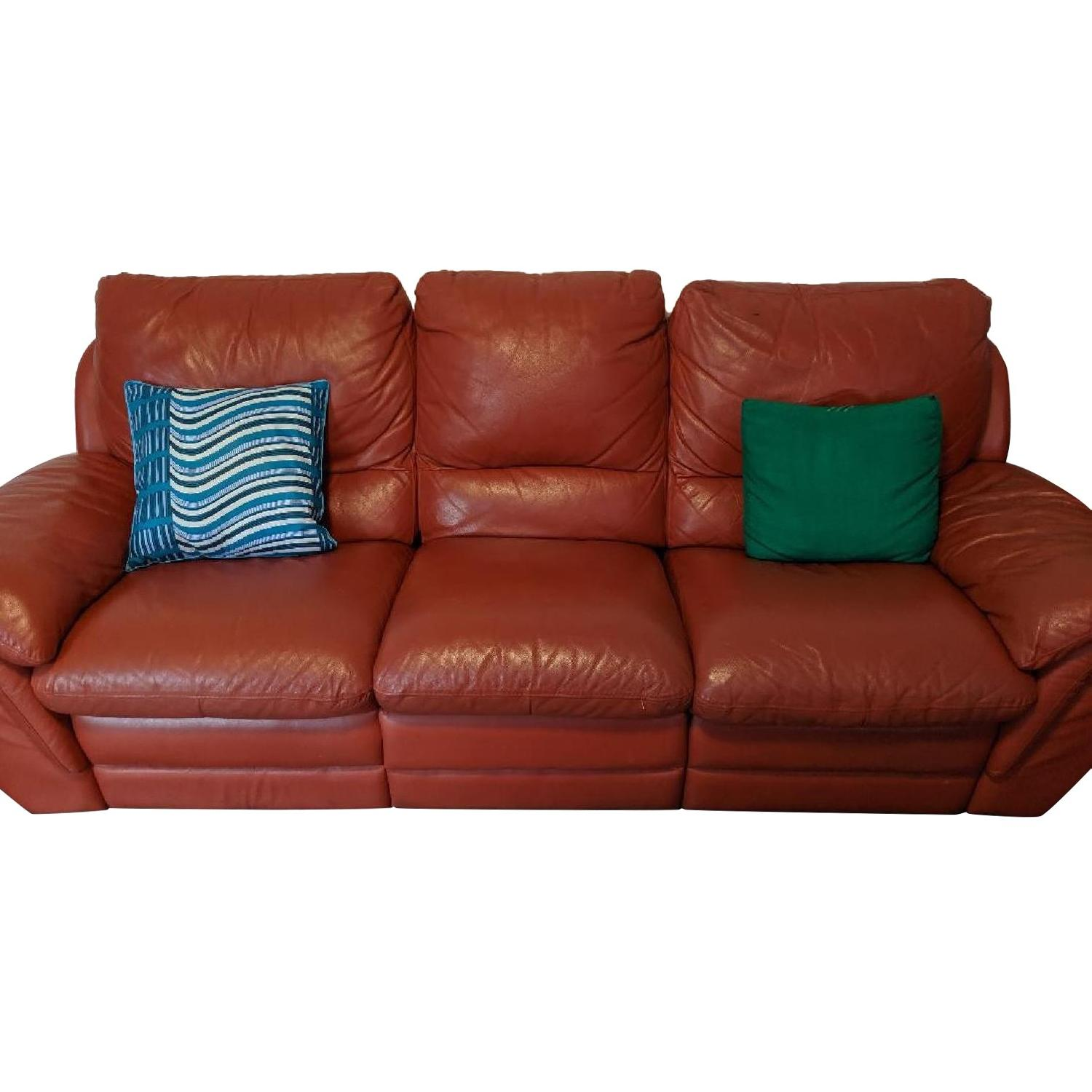Red Leather Reclining Sofa - image-0