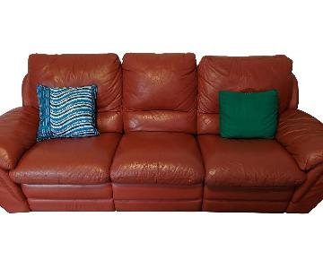 Red Leather Reclining Sofa