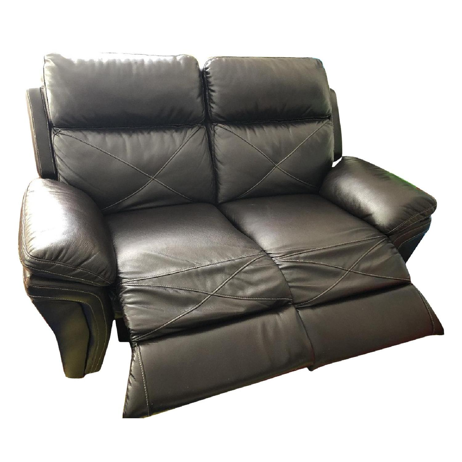 Power Reclining Leather Loveseat - image-0