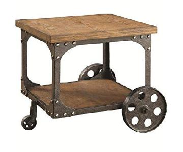 Rustic Brown End Table w/ Metal Wheels