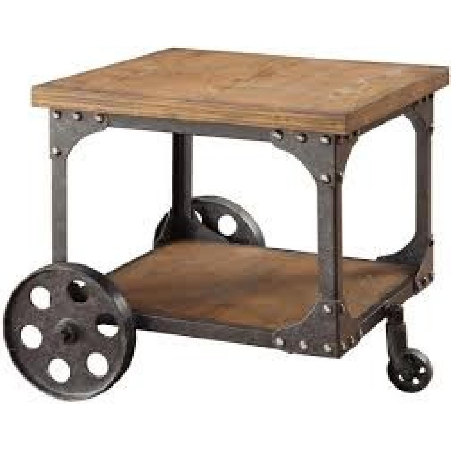 Rustic Brown End Table w/ Metal Wheels - image-2