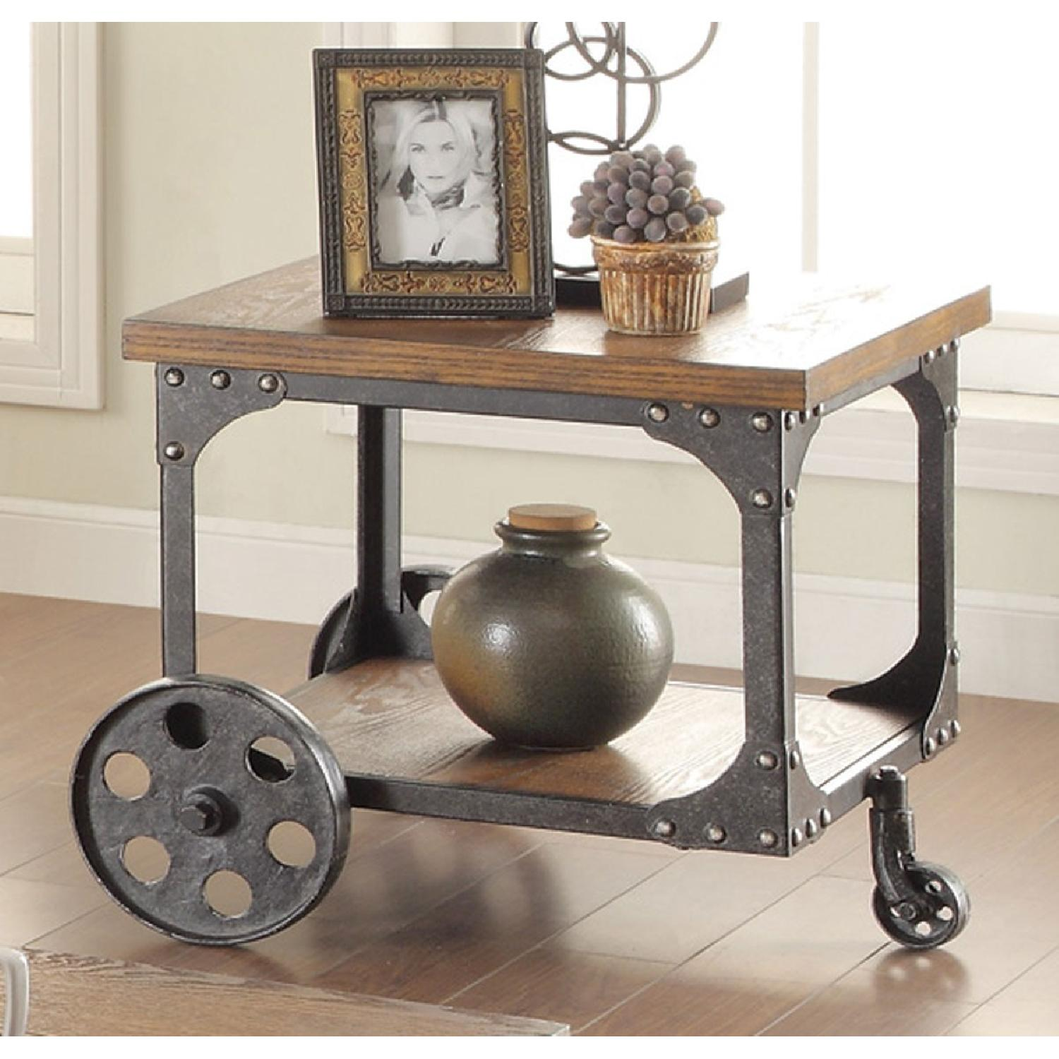 Rustic Brown End Table w/ Metal Wheels - image-3