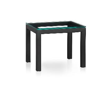 Crate & Barrel Clear Glass Top/Dark Steel Base Side Table