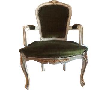 Antique Louis XVI Style Gilt Velvet Bergere Armchair