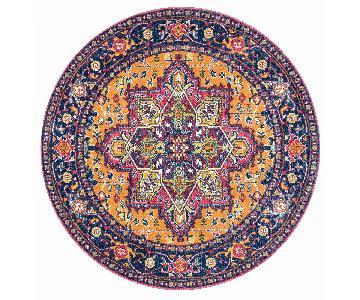 Round Multicolor Bohemian Rug