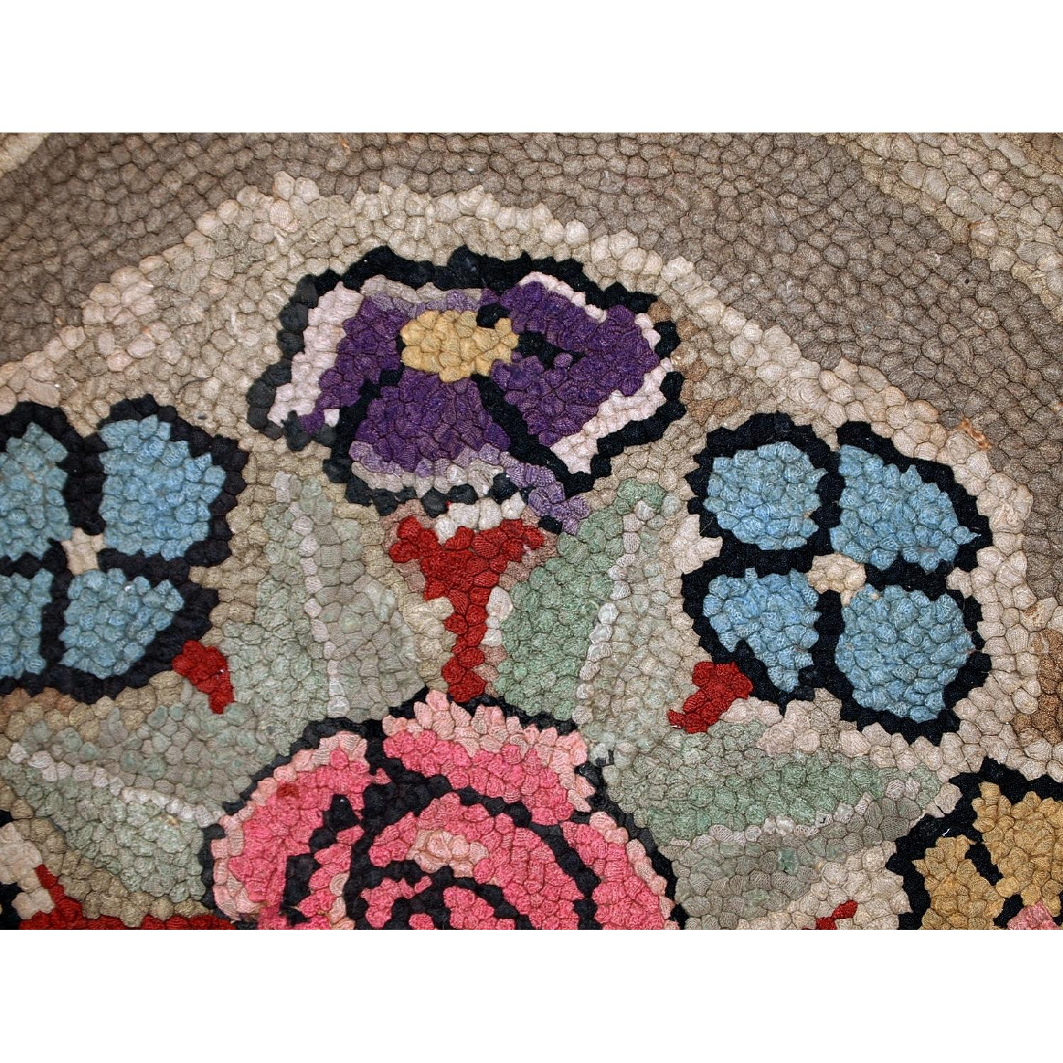 Antique Hand Made Round American Hooked Rug