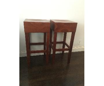 Polish Wood Craftsman Cherry Stained Solid Wood Stools