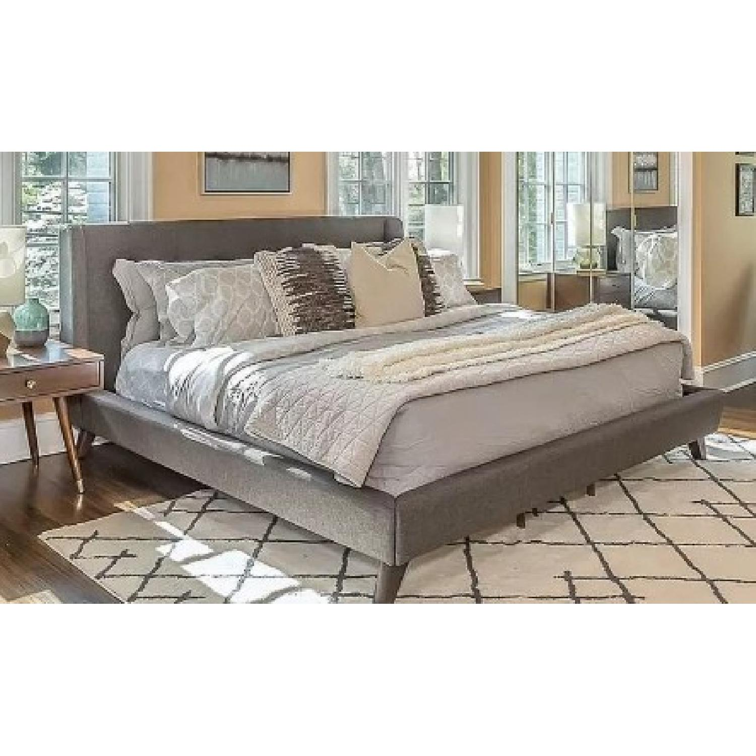 Mid Century Style King Platform Bed in Grey Fabric - image-1