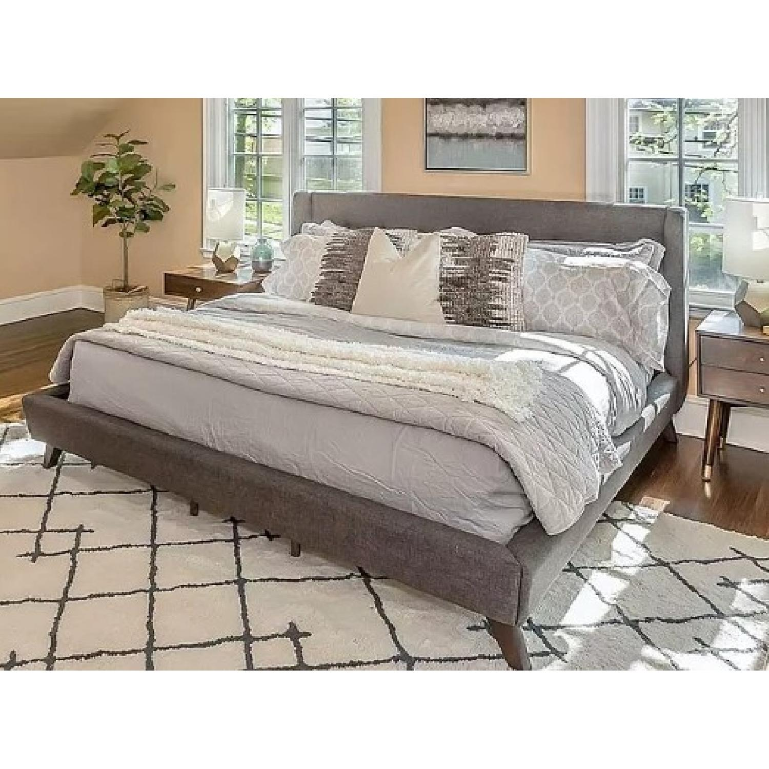 Mid Century Style King Platform Bed in Grey Fabric - image-2