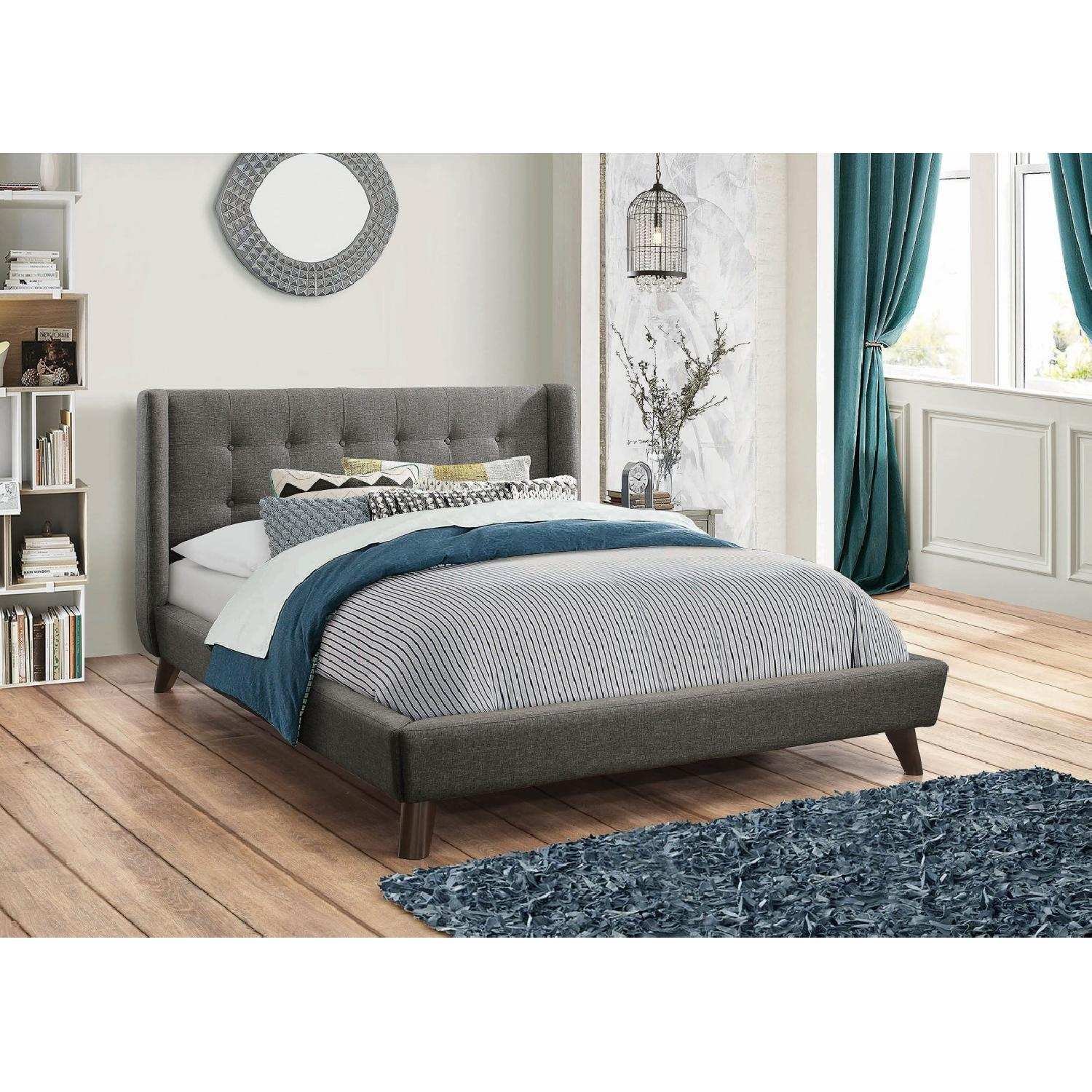 Mid Century Style King Platform Bed in Grey Fabric - image-3