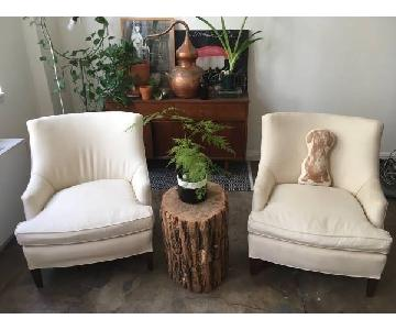 Off White Feather-Stuffed Armchair