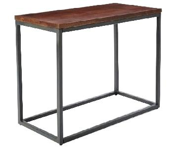 West Elm Box Frame Narrow Side Table in Wood & Steel