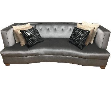Grey Tufted Suede Sofa