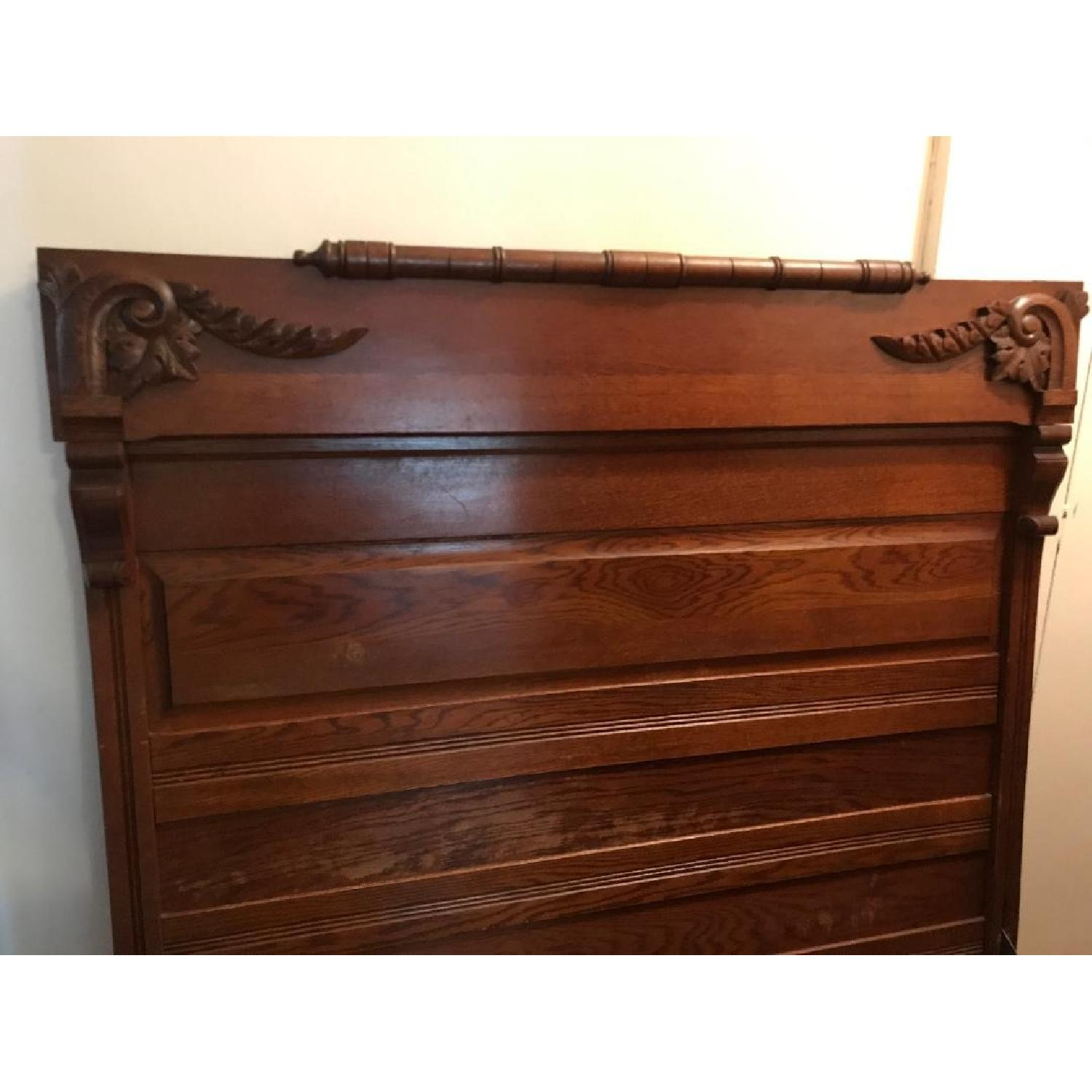 Antique Carved Wood Headboard & Footboard - image-0