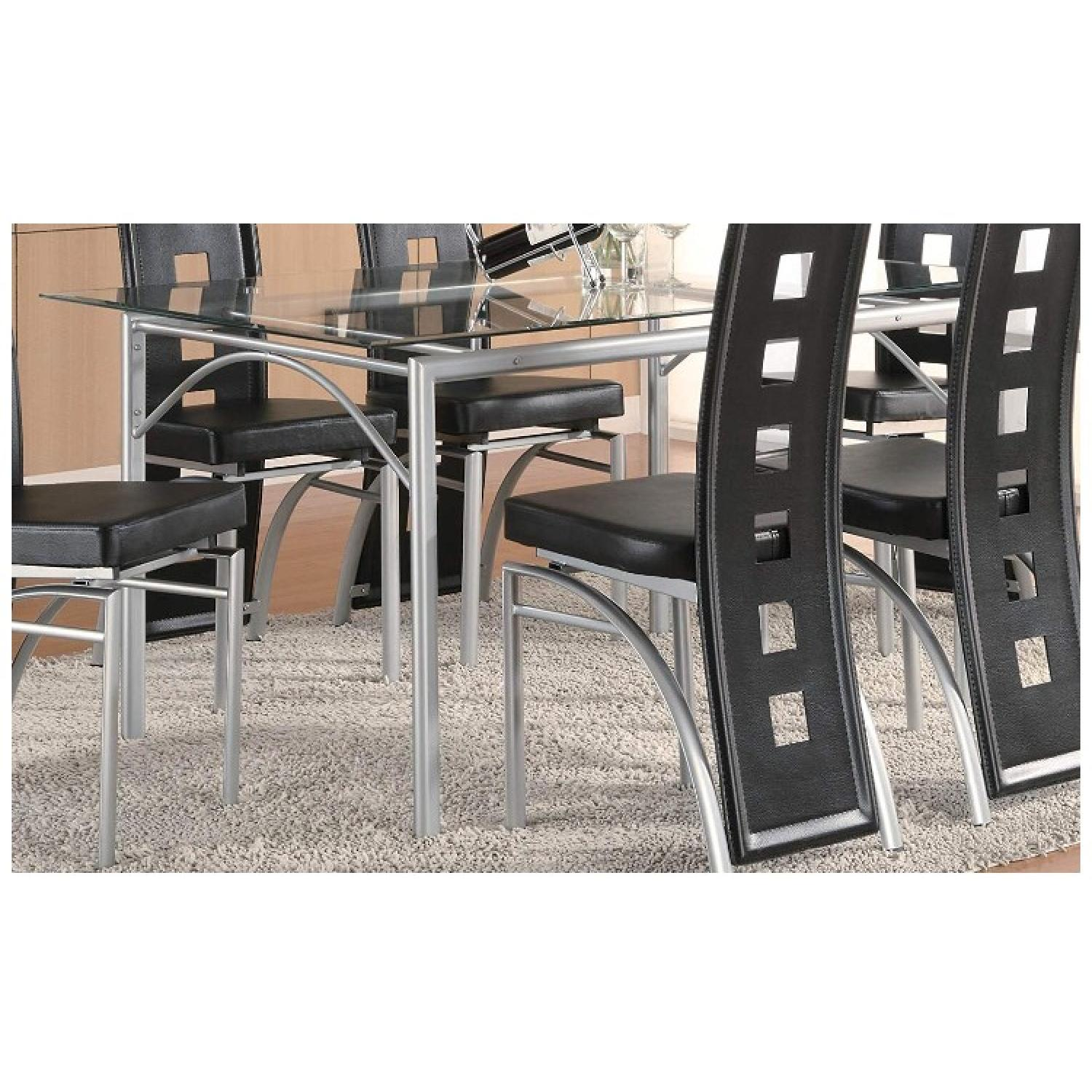 Coaster Glass Top Dining Table w/ Matte Silver Frame - image-1