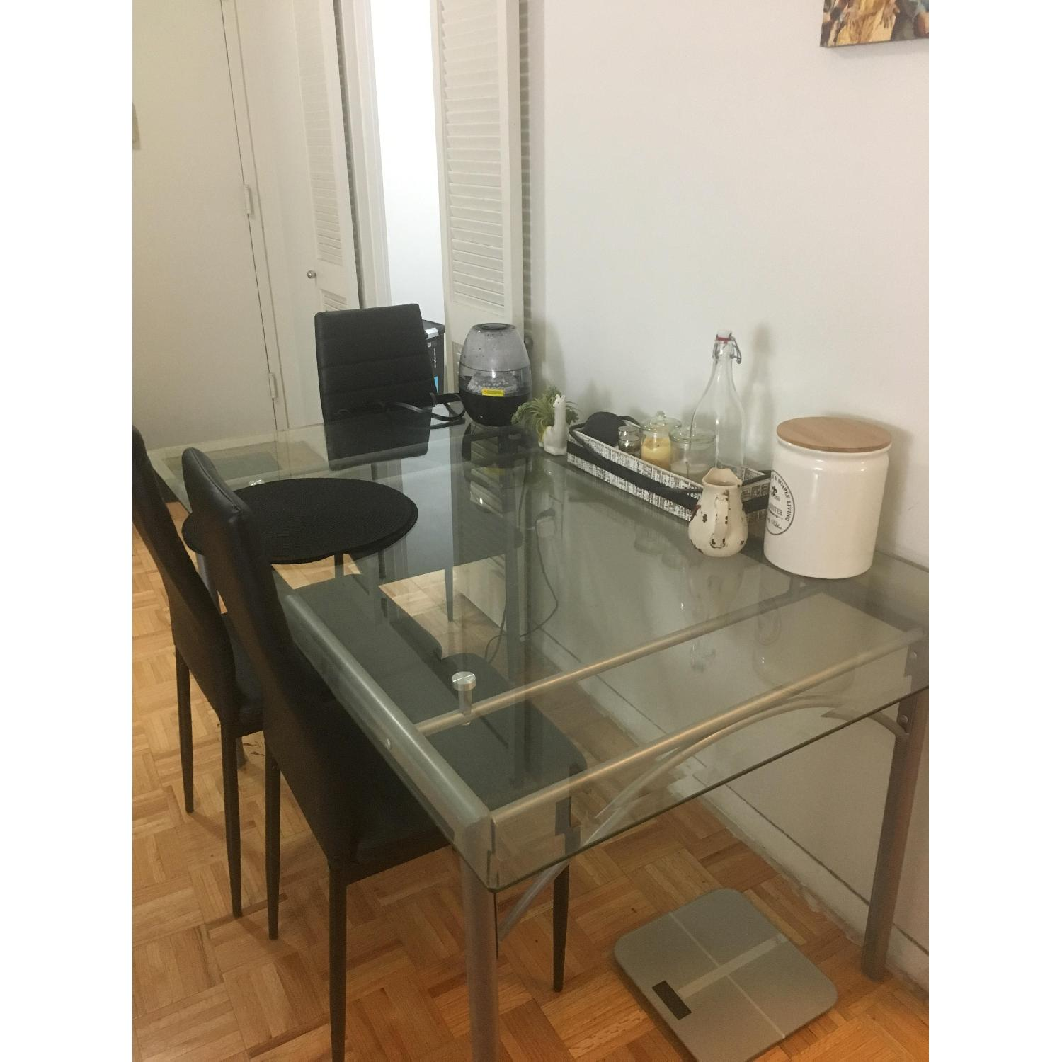 Coaster Glass Top Dining Table w/ Matte Silver Frame - image-2