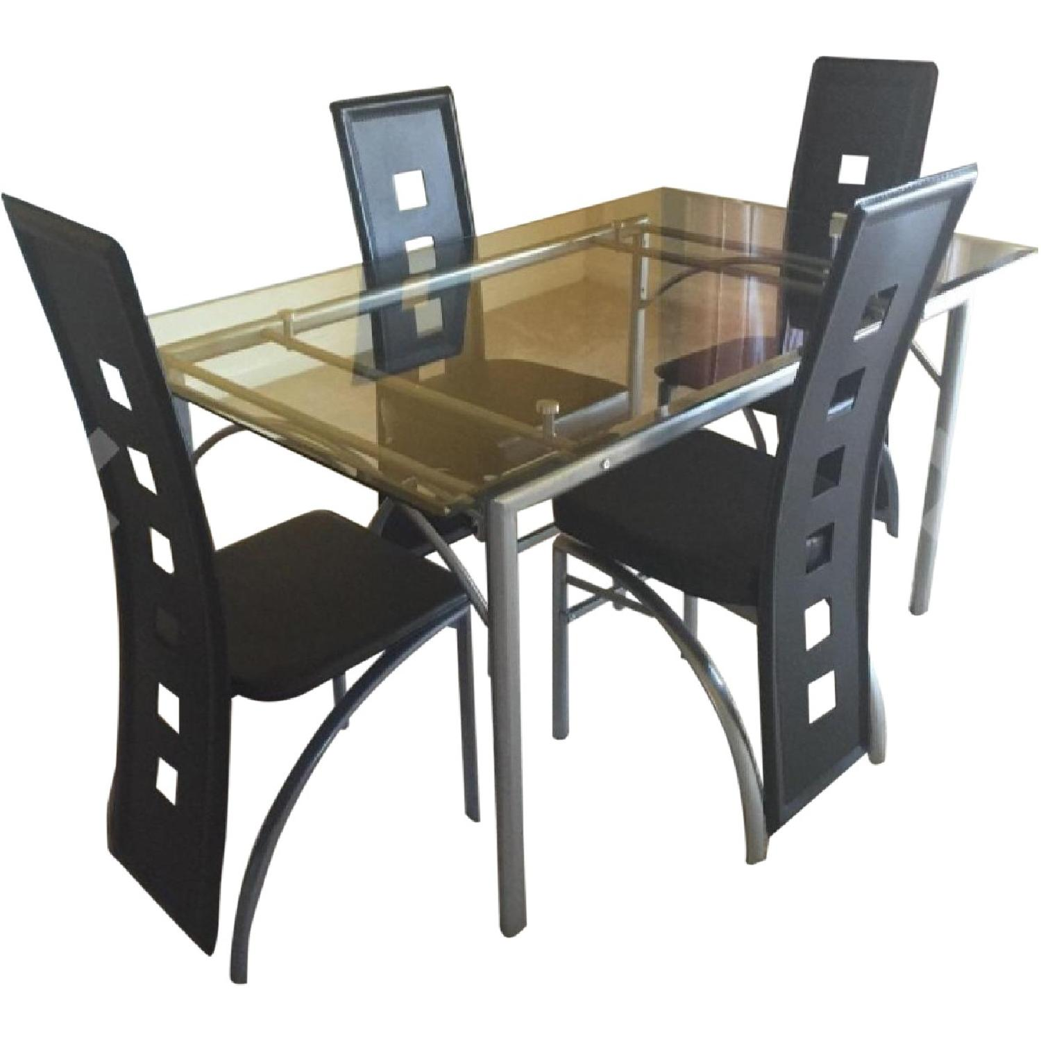 Coaster Glass Top Dining Table w/ Matte Silver Frame - image-3