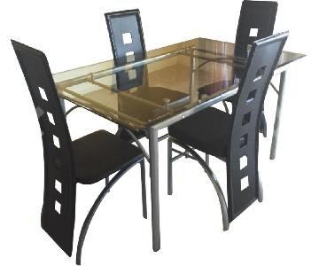 Coaster Glass Top Dining Table w/ Matte Silver Frame