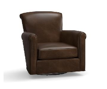 Pottery Barn Irving Leather Swivel Chairs