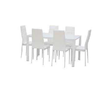 Orren Ellis Renick Modern 7 Piece White Dining Set