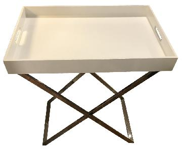West Elm Tall Butler Tray Stand w/ White Lacquer Tray
