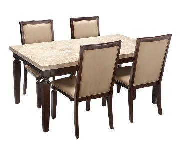 Raymour & Flanigan Marble 5-Piece Dining Set