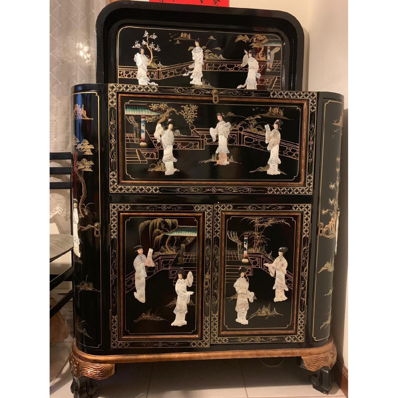 Antique Black Lacquer Wine Cabinet w/ Inlaid Decor - image-1
