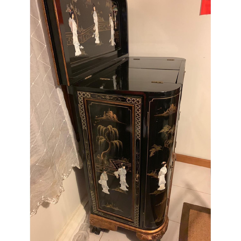 Antique Black Lacquer Wine Cabinet w/ Inlaid Decor - image-2