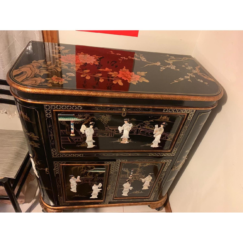 Antique Black Lacquer Wine Cabinet w/ Inlaid Decor - image-3