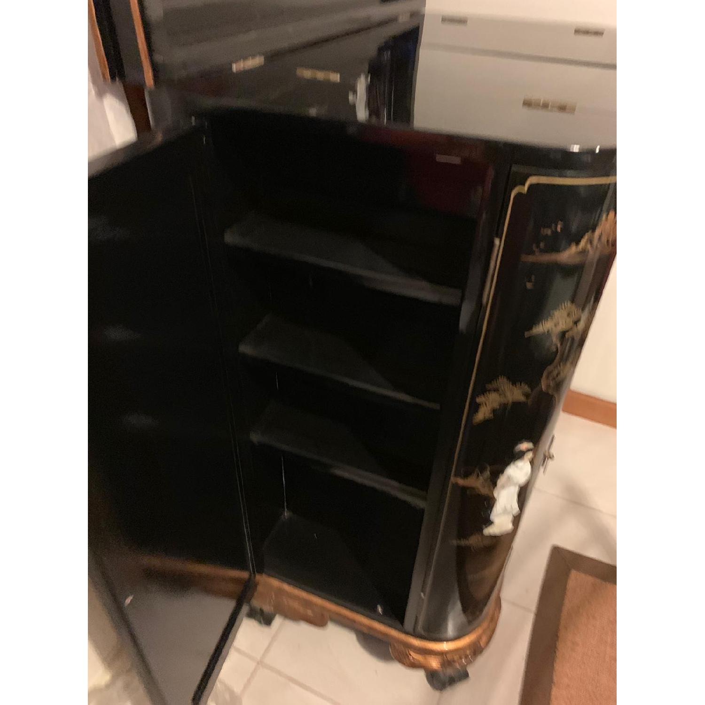 Antique Black Lacquer Wine Cabinet w/ Inlaid Decor - image-4