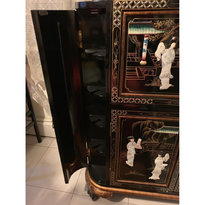 Antique Black Lacquer Wine Cabinet w/ Inlaid Decor - image-5