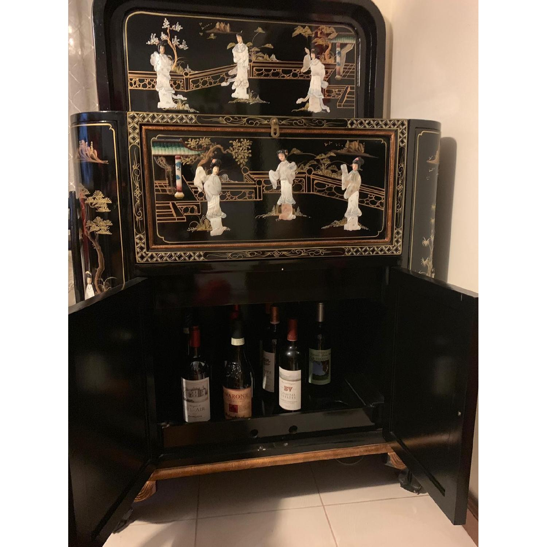 Antique Black Lacquer Wine Cabinet w/ Inlaid Decor - image-6