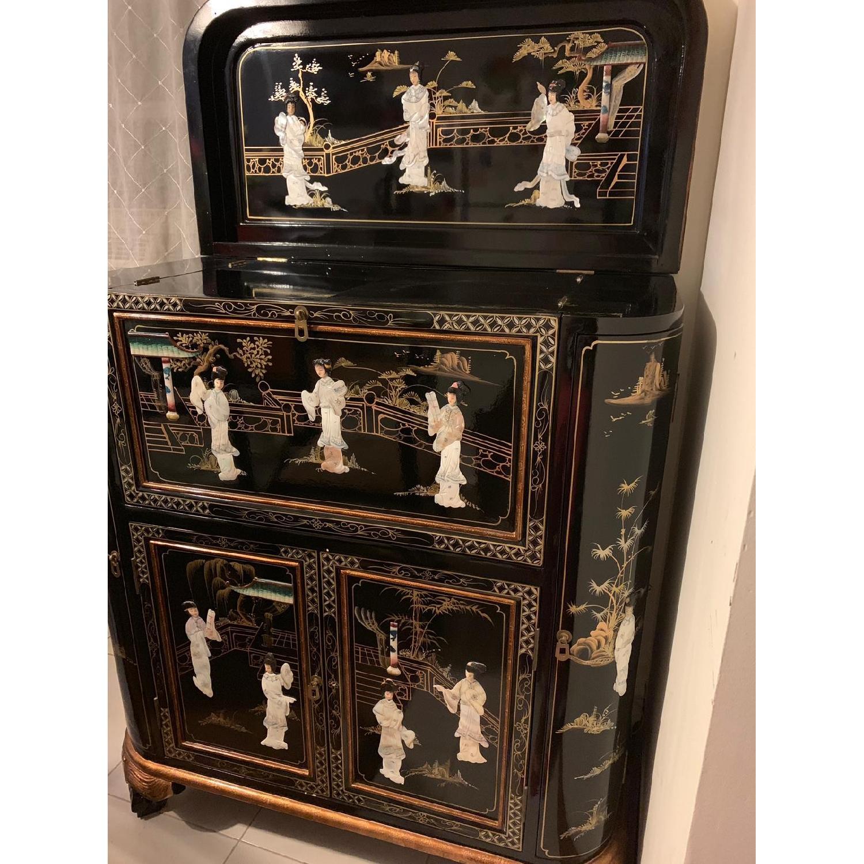 Antique Black Lacquer Wine Cabinet w/ Inlaid Decor - image-7