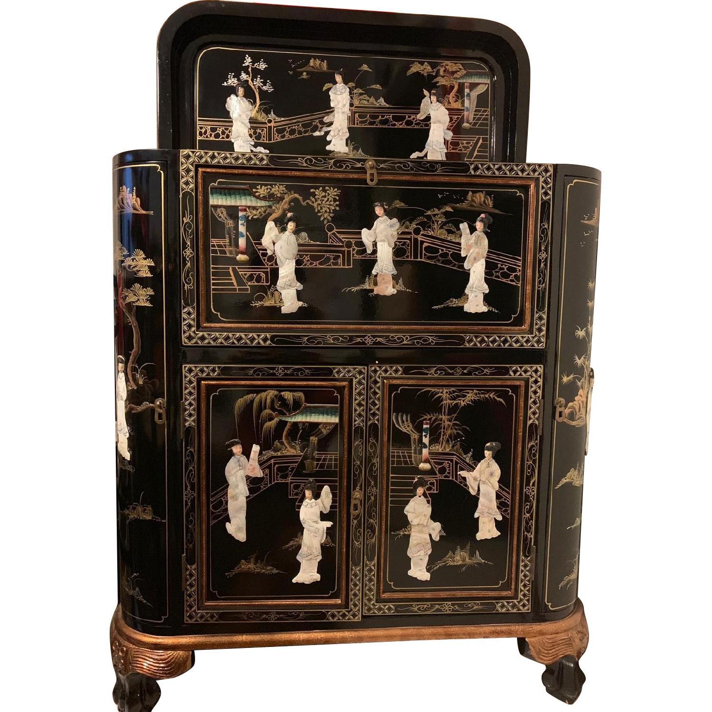 Antique Black Lacquer Wine Cabinet w/ Inlaid Decor - image-0