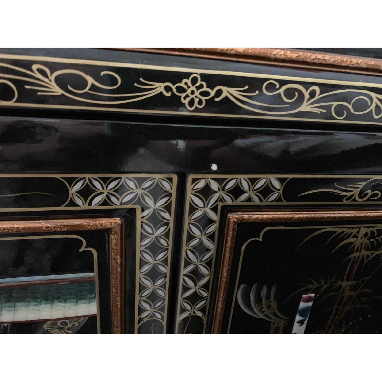 Antique Black Lacquer Wine Cabinet w/ Inlaid Decor - image-10