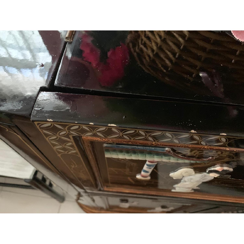 Antique Black Lacquer Wine Cabinet w/ Inlaid Decor - image-11