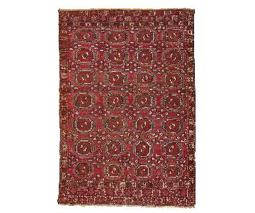 Antique Handmade Collectible Turkmen Saryk Rug