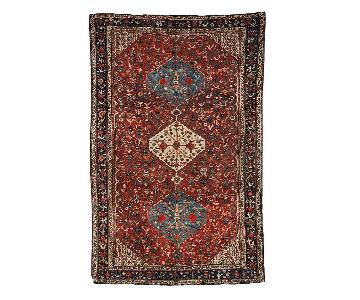 Antique Handmade Collectible Persian Khamseh Rug