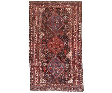 Antique Handmade Persian Khamseh Rug