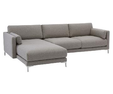 CB2 Grey 2-Piece Sectional Sofa w/ Left Chaise