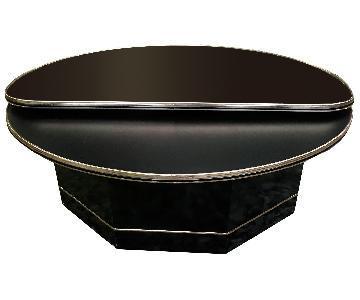 Vintage Baughman Style Swivel Coffee Table w/ Mirror Top