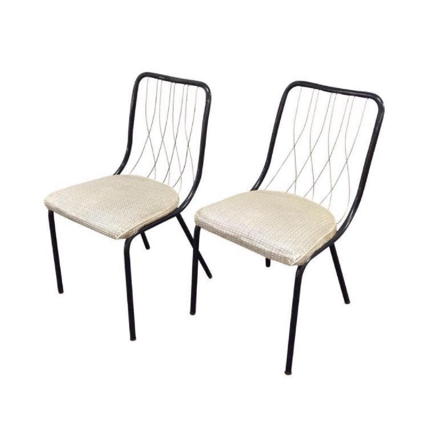Vintage French Art Deco Brass & Leather Chairs - image-0