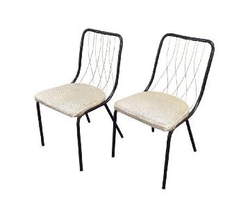 Vintage French Art Deco Brass & Leather Chairs