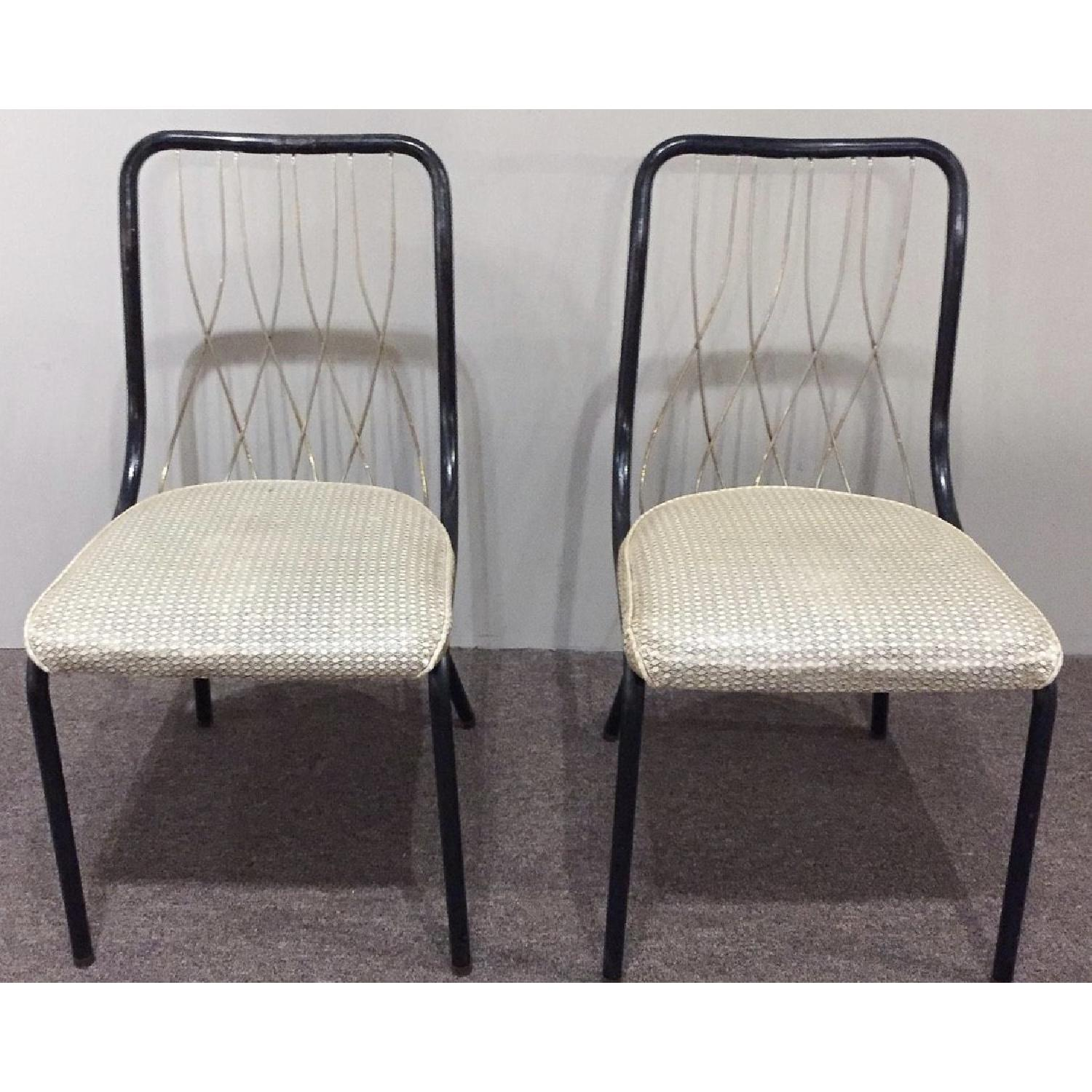 Vintage French Art Deco Brass & Leather Chairs - image-1