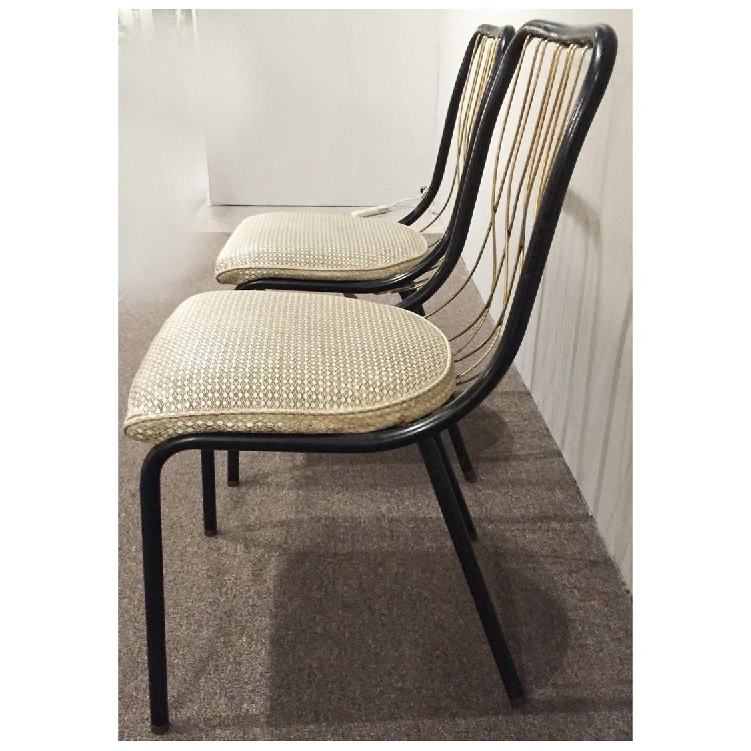 Vintage French Art Deco Brass & Leather Chairs - image-2