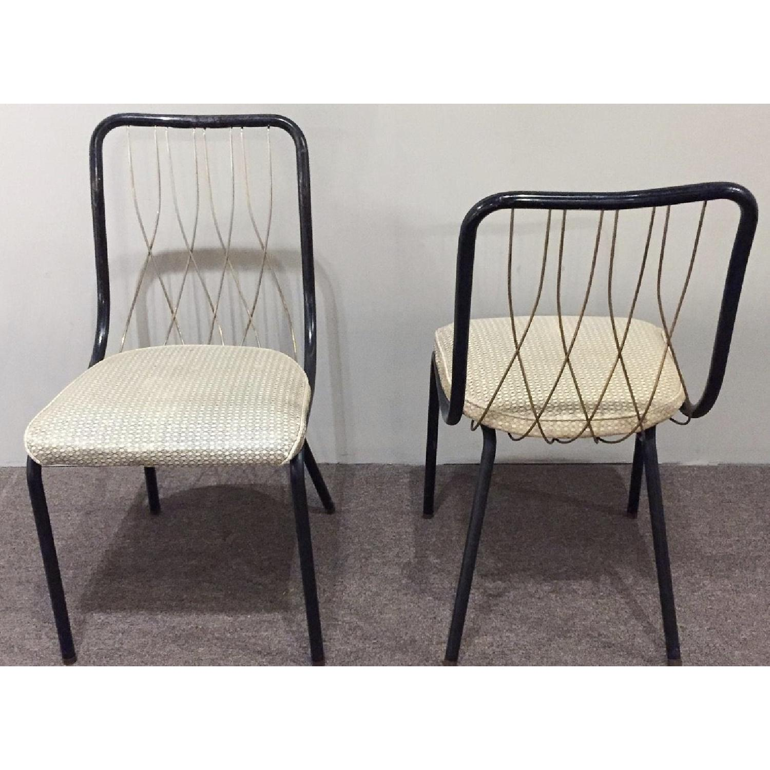 Vintage French Art Deco Brass & Leather Chairs - image-3