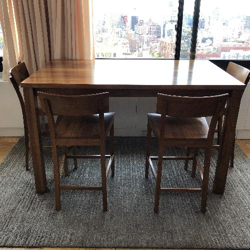 Used Room & Board Andover Walnut Table w/ 4 Stools for sale on AptDeco